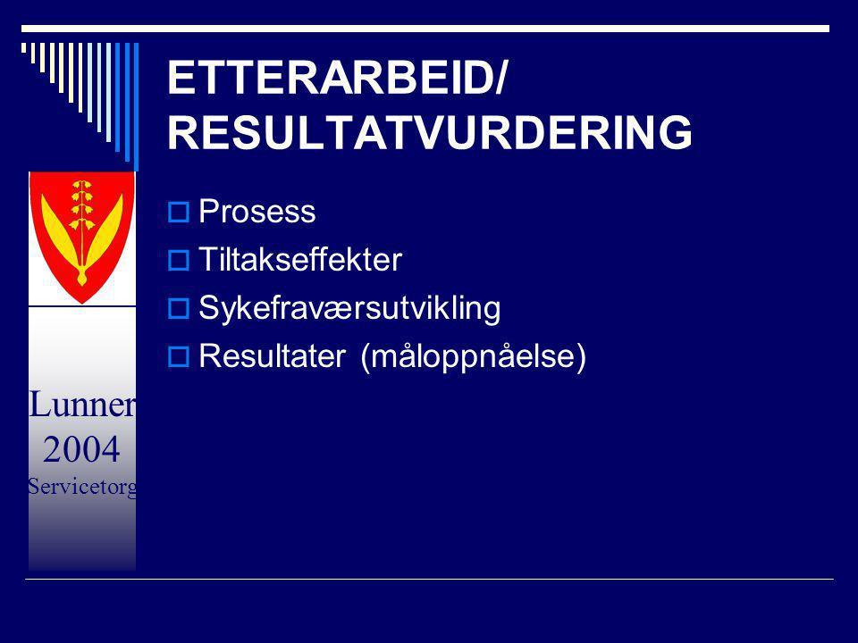Lunner 2004 Servicetorg ETTERARBEID/ RESULTATVURDERING  Prosess  Tiltakseffekter  Sykefraværsutvikling  Resultater (måloppnåelse)