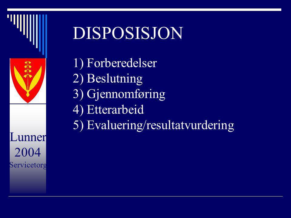 Lunner 2004 Servicetorg DISPOSISJON 1) Forberedelser 2) Beslutning 3) Gjennomføring 4) Etterarbeid 5) Evaluering/resultatvurdering