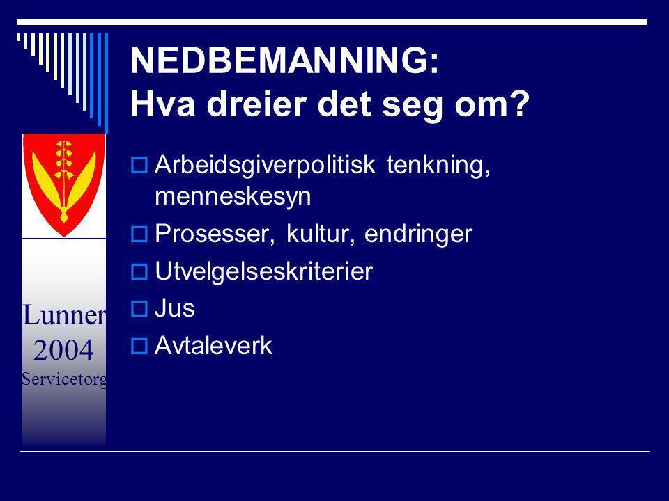 Lunner 2004 Servicetorg NEDBEMANNING: Hva dreier det seg om?  Arbeidsgiverpolitisk tenkning, menneskesyn  Prosesser, kultur, endringer  Utvelgelses