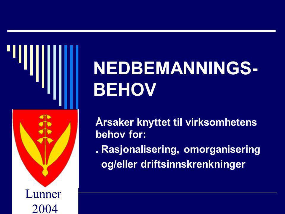 Lunner 2004 NEDBEMANNINGS- BEHOV Årsaker knyttet til virksomhetens behov for:. Rasjonalisering, omorganisering og/eller driftsinnskrenkninger