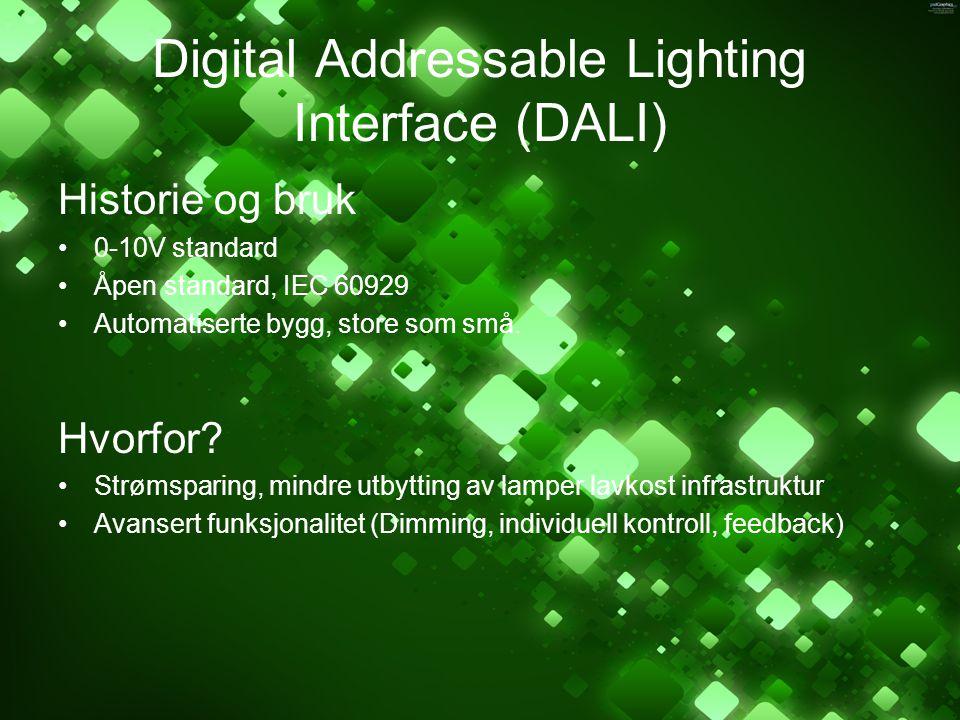 Digital Addressable Lighting Interface (DALI) Historie og bruk 0-10V standard Åpen standard, IEC 60929 Automatiserte bygg, store som små. Hvorfor? Str