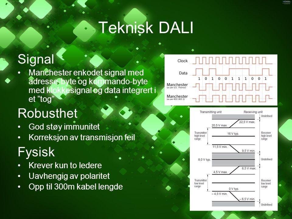 """Teknisk DALI Signal Manchester enkodet signal med adresse-byte og kommando-byte med klokkesignal og data integrert i et """"tog"""" Robusthet God støy immun"""