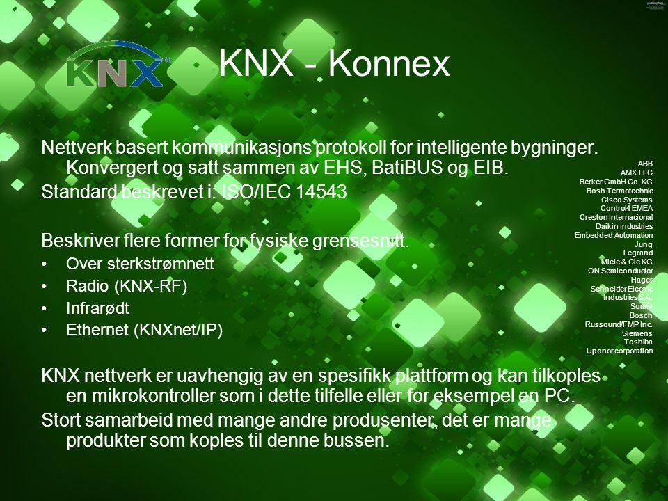 KNX - Konnex Nettverk basert kommunikasjons protokoll for intelligente bygninger. Konvergert og satt sammen av EHS, BatiBUS og EIB. Standard beskrevet