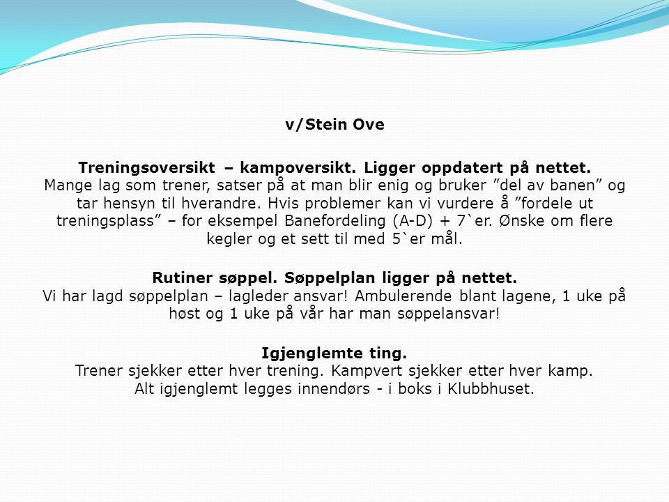 v/Stein Ove Treningsoversikt – kampoversikt.Ligger oppdatert på nettet.