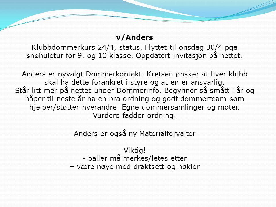 v/Anders Klubbdommerkurs 24/4, status.Flyttet til onsdag 30/4 pga snøhuletur for 9.