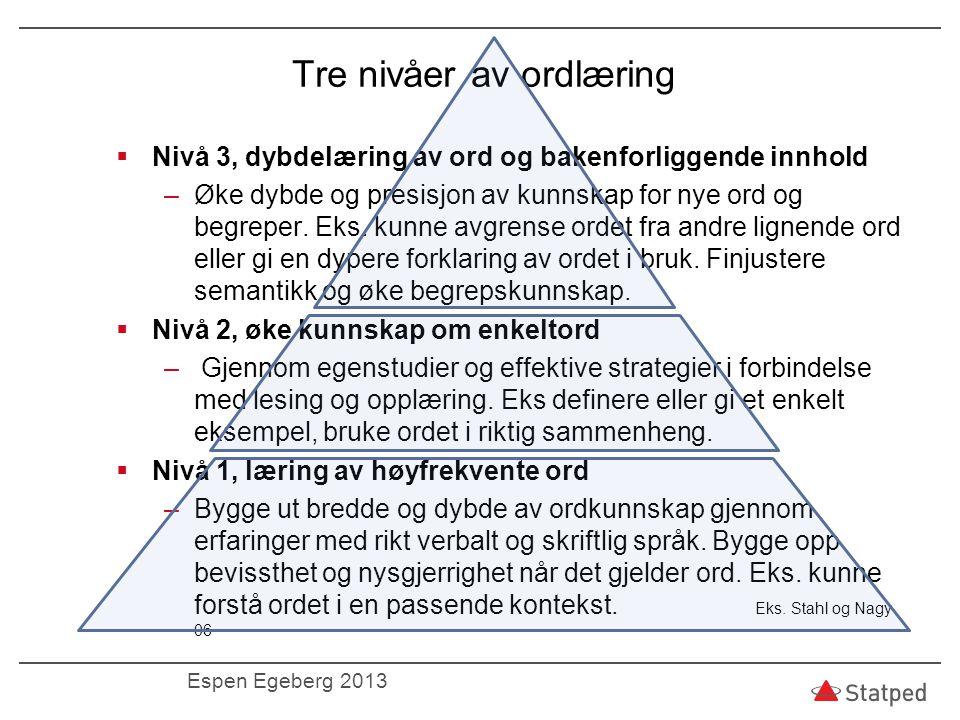 Tre nivåer av ordlæring  Nivå 3, dybdelæring av ord og bakenforliggende innhold –Øke dybde og presisjon av kunnskap for nye ord og begreper. Eks. kun