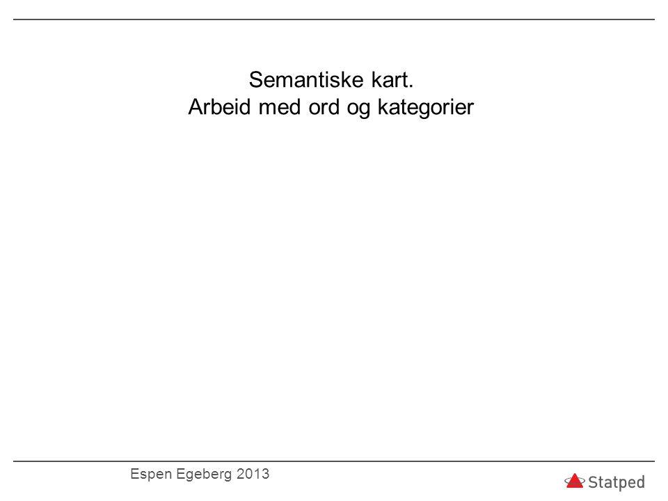 Semantiske kart. Arbeid med ord og kategorier Espen Egeberg 2013