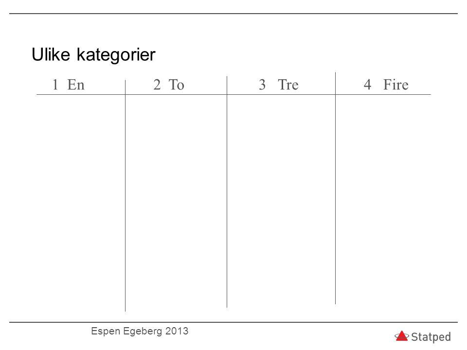 Ulike kategorier 1 En2 To3 Tre4 Fire Espen Egeberg 2013