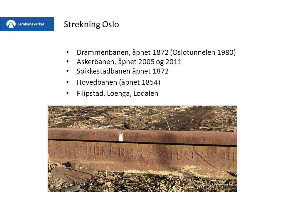 Drammenbanen, åpnet 1872 (Oslotunnelen 1980) Askerbanen, åpnet 2005 og 2011 Spikkestadbanen åpnet 1872 Hovedbanen (åpnet 1854) Filipstad, Loenga, Loda