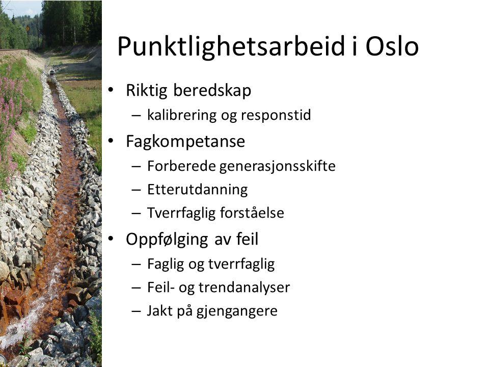 Punktlighetsarbeid i Oslo Riktig beredskap – kalibrering og responstid Fagkompetanse – Forberede generasjonsskifte – Etterutdanning – Tverrfaglig fors