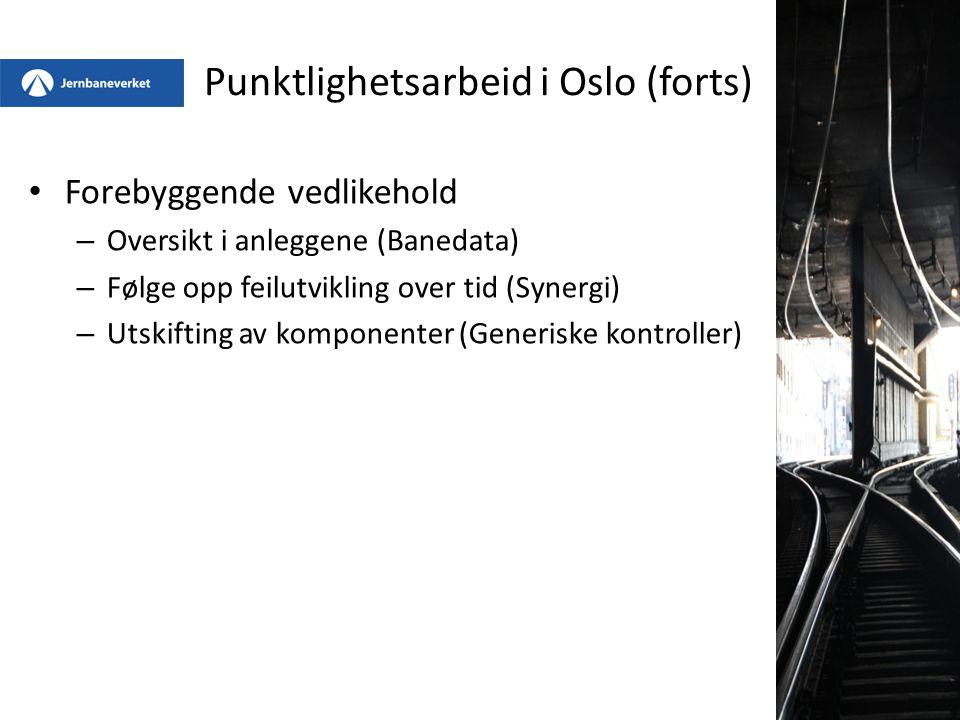 Punktlighetsarbeid i Oslo (forts) Forebyggende vedlikehold – Oversikt i anleggene (Banedata) – Følge opp feilutvikling over tid (Synergi) – Utskifting