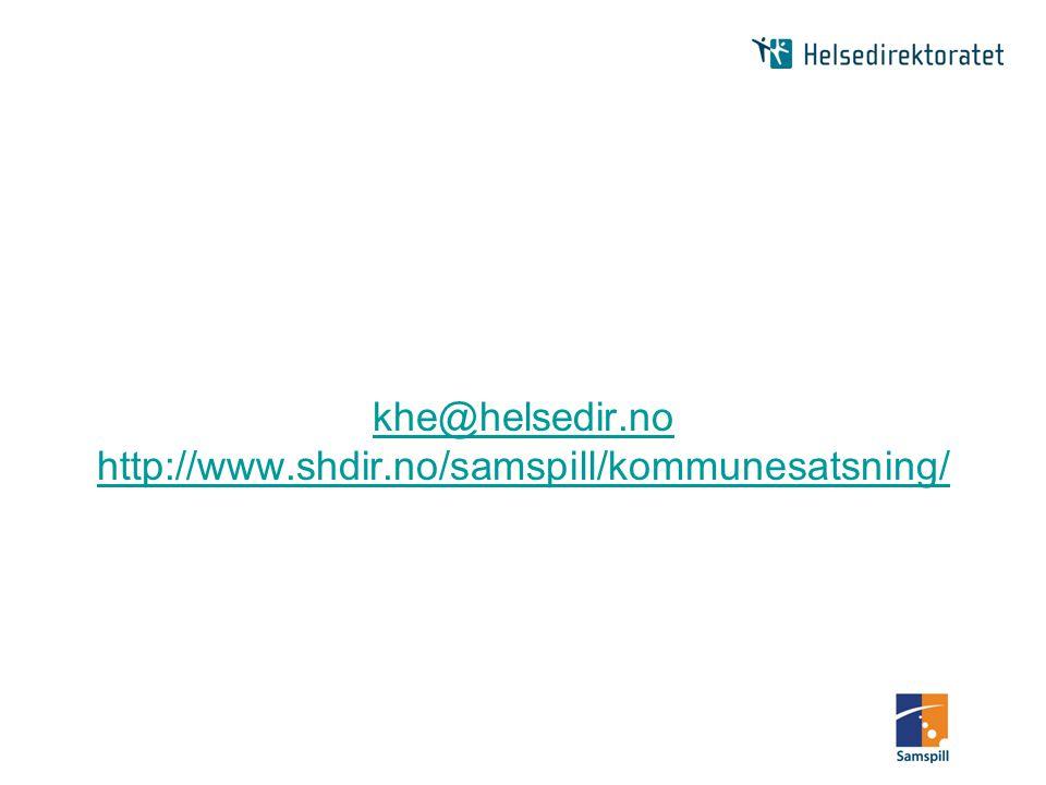 khe@helsedir.no http://www.shdir.no/samspill/kommunesatsning/