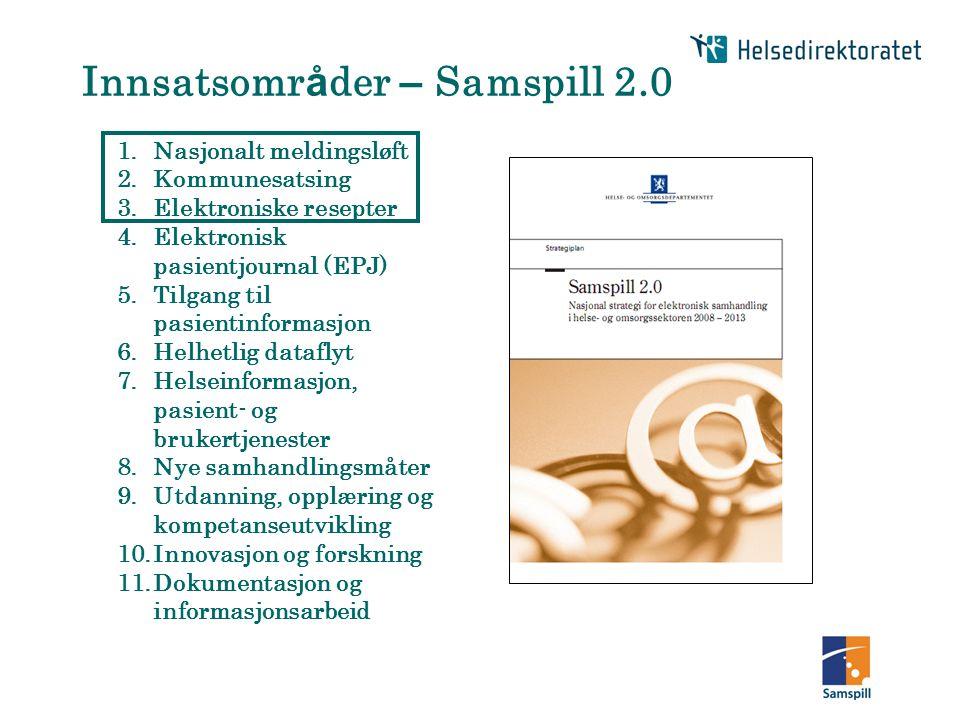 1.Nasjonalt meldingsløft 2.Kommunesatsing 3.Elektroniske resepter 4.Elektronisk pasientjournal (EPJ) 5.Tilgang til pasientinformasjon 6.Helhetlig data