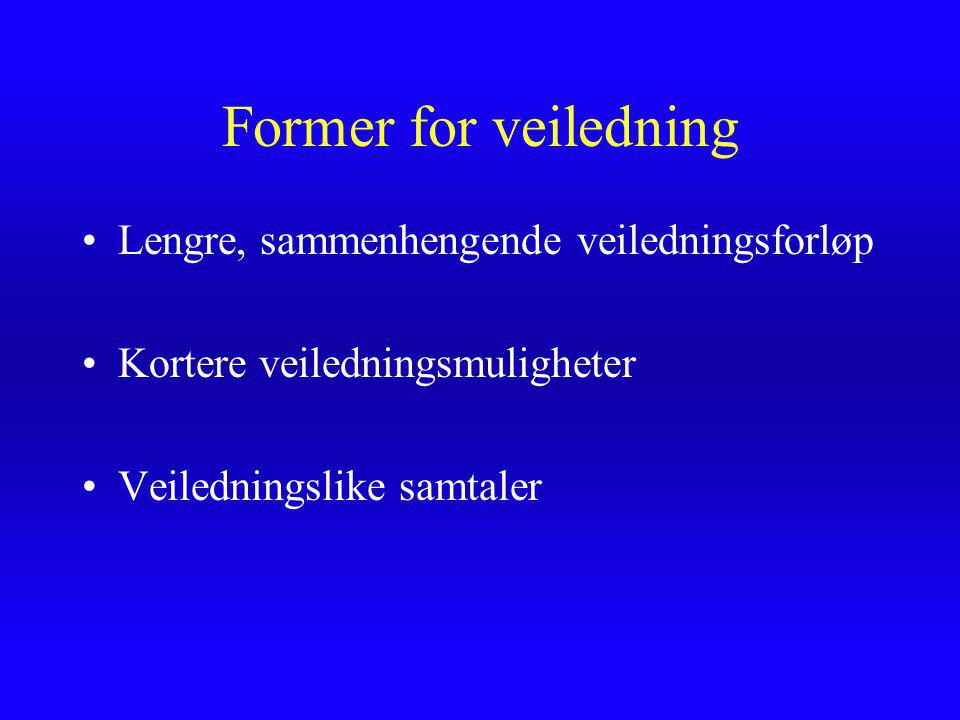 Former for veiledning Lengre, sammenhengende veiledningsforløp Kortere veiledningsmuligheter Veiledningslike samtaler