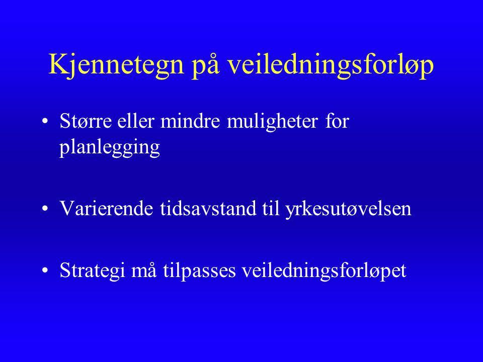 Kjennetegn på veiledningsforløp Større eller mindre muligheter for planlegging Varierende tidsavstand til yrkesutøvelsen Strategi må tilpasses veiledningsforløpet