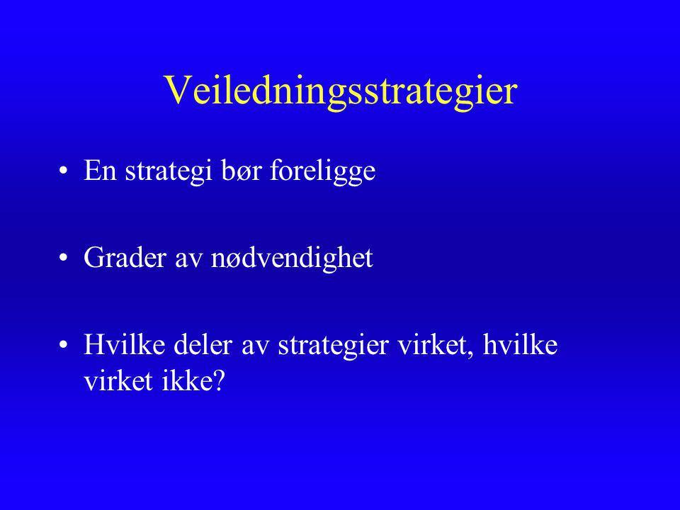 Veiledningsstrategier En strategi bør foreligge Grader av nødvendighet Hvilke deler av strategier virket, hvilke virket ikke?
