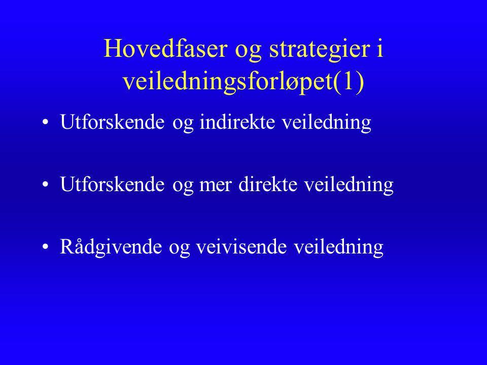 Hovedfaser og strategier i veiledningsforløpet(1) Utforskende og indirekte veiledning Utforskende og mer direkte veiledning Rådgivende og veivisende veiledning