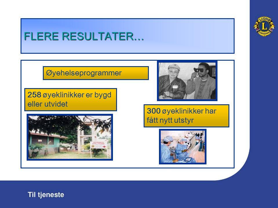 FLERE RESULTATER … 258 øyeklinikker er bygd eller utvidet Øyehelseprogrammer 300 øyeklinikker har fått nytt utstyr