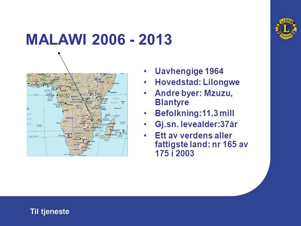 MALAWI 2006 - 2013 Uavhengige 1964 Hovedstad: Lilongwe Andre byer: Mzuzu, Blantyre Befolkning:11.3 mill Gj.sn.