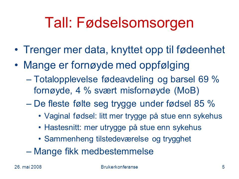 26. mai 2008Brukerkonferanse5 Tall: Fødselsomsorgen Trenger mer data, knyttet opp til fødeenhet Mange er fornøyde med oppfølging –Totalopplevelse føde
