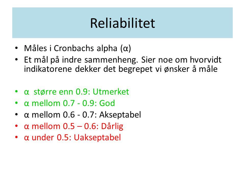 Reliabilitet Måles i Cronbachs alpha (α) Et mål på indre sammenheng. Sier noe om hvorvidt indikatorene dekker det begrepet vi ønsker å måle α større e