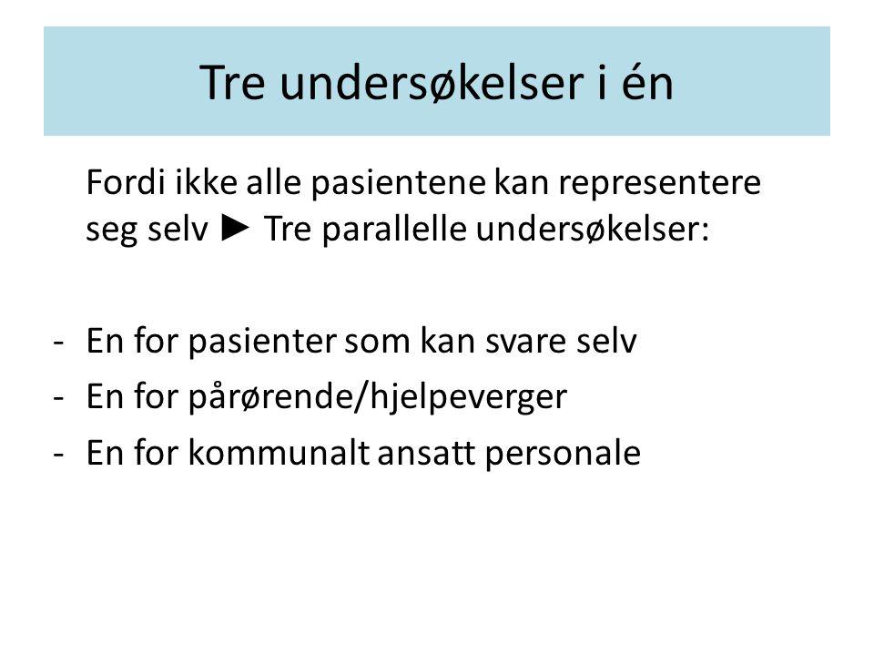 Tre undersøkelser i én Fordi ikke alle pasientene kan representere seg selv ► Tre parallelle undersøkelser: -En for pasienter som kan svare selv -En f
