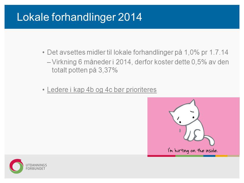 Lokale forhandlinger 2014 Det avsettes midler til lokale forhandlinger på 1,0% pr 1.7.14 –Virkning 6 måneder i 2014, derfor koster dette 0,5% av den t
