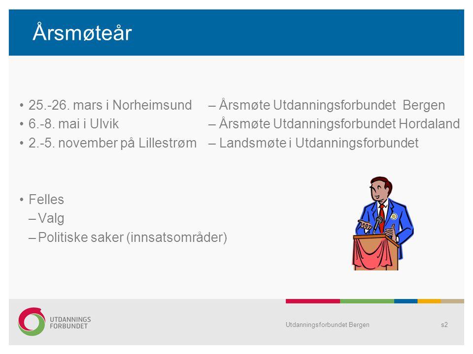 Utdanningsforbundet Bergens2 Årsmøteår 25.-26. mars i Norheimsund – Årsmøte Utdanningsforbundet Bergen 6.-8. mai i Ulvik – Årsmøte Utdanningsforbundet