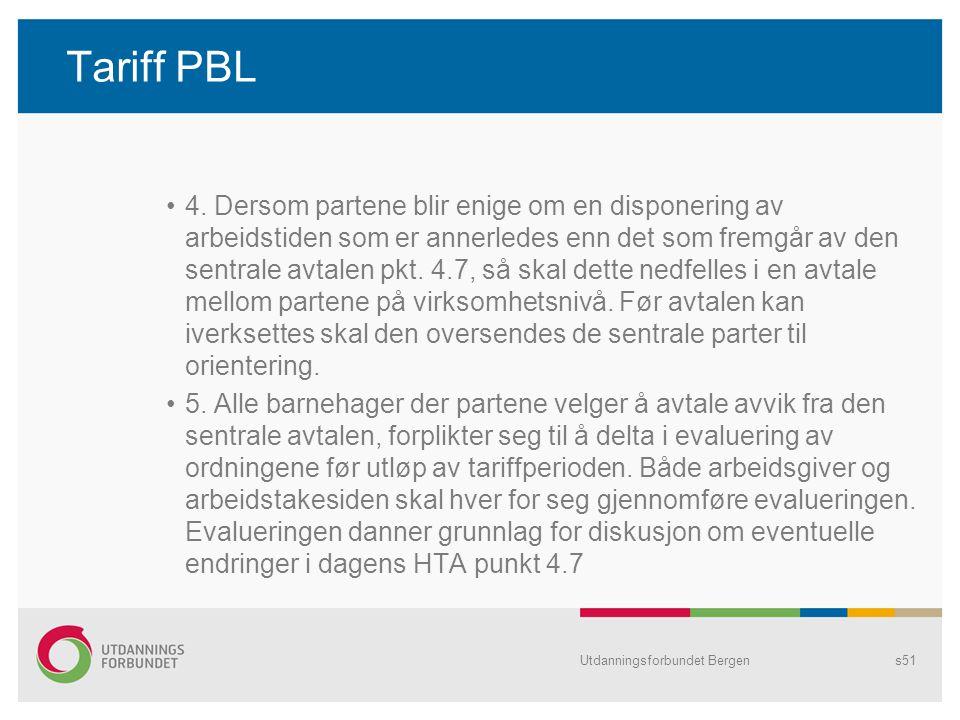 Tariff PBL 4. Dersom partene blir enige om en disponering av arbeidstiden som er annerledes enn det som fremgår av den sentrale avtalen pkt. 4.7, så s