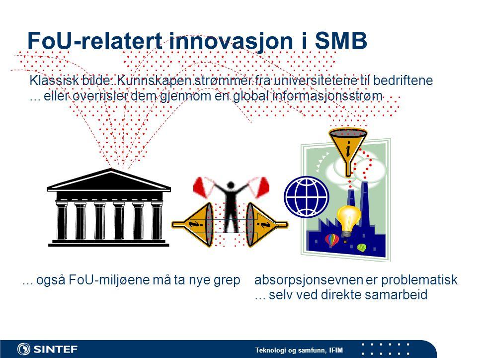Teknologi og samfunn, IFIM Forskning og bedrift: to verdener? Bedrifter FoU-institusjoner