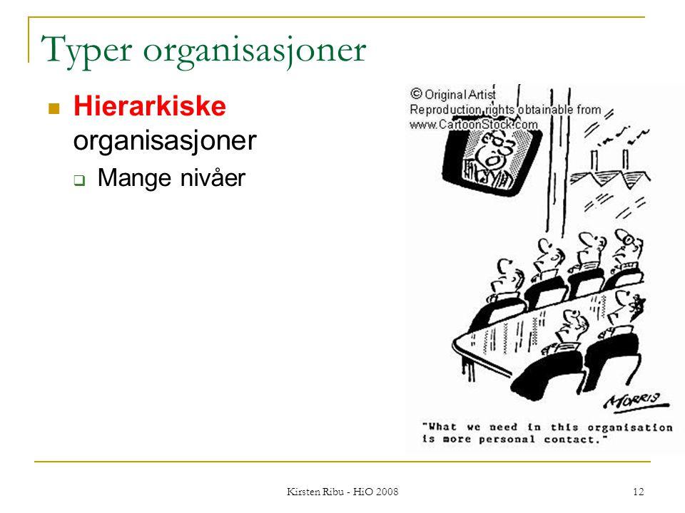 Kirsten Ribu - HiO 2008 12 Typer organisasjoner Hierarkiske organisasjoner  Mange nivåer
