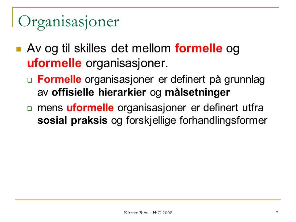 Kirsten Ribu - HiO 2008 8 Organisering av det sosiale livet Svært mye sosialt liv er organisert.