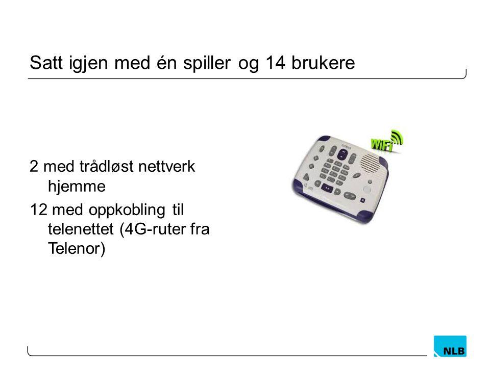 Satt igjen med én spiller og 14 brukere 2 med trådløst nettverk hjemme 12 med oppkobling til telenettet (4G-ruter fra Telenor)