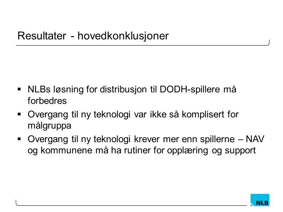 Resultater - hovedkonklusjoner  NLBs løsning for distribusjon til DODH-spillere må forbedres  Overgang til ny teknologi var ikke så komplisert for målgruppa  Overgang til ny teknologi krever mer enn spillerne – NAV og kommunene må ha rutiner for opplæring og support