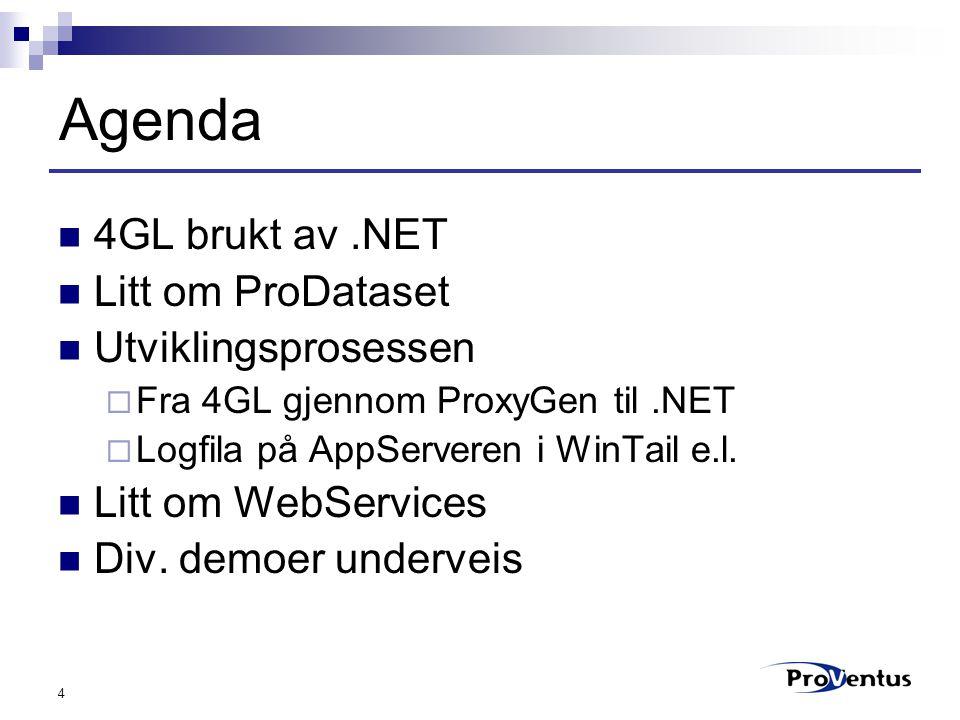 4 Agenda 4GL brukt av.NET Litt om ProDataset Utviklingsprosessen  Fra 4GL gjennom ProxyGen til.NET  Logfila på AppServeren i WinTail e.l. Litt om We