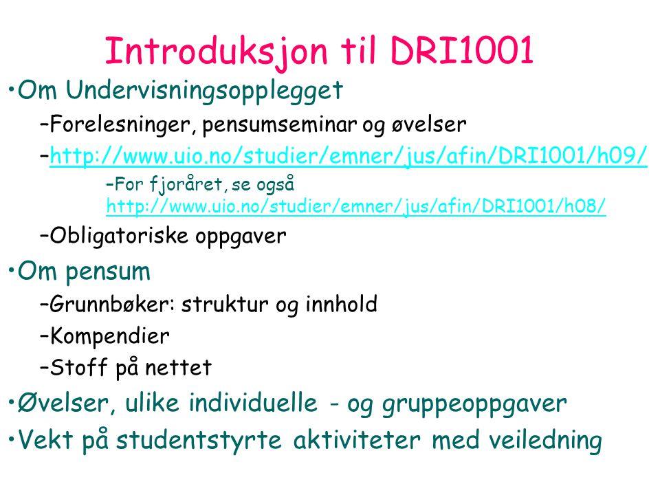 DRI 1001 Digital forvaltning Introduksjon 130809 Arild Jansen 4 Introduksjon til DRI1001 Om Undervisningsopplegget –Forelesninger, pensumseminar og øvelser –http://www.uio.no/studier/emner/jus/afin/DRI1001/h09/http://www.uio.no/studier/emner/jus/afin/DRI1001/h09/ –For fjoråret, se også http://www.uio.no/studier/emner/jus/afin/DRI1001/h08/ http://www.uio.no/studier/emner/jus/afin/DRI1001/h08/ –Obligatoriske oppgaver Om pensum –Grunnbøker: struktur og innhold –Kompendier –Stoff på nettet Øvelser, ulike individuelle - og gruppeoppgaver Vekt på studentstyrte aktiviteter med veiledning