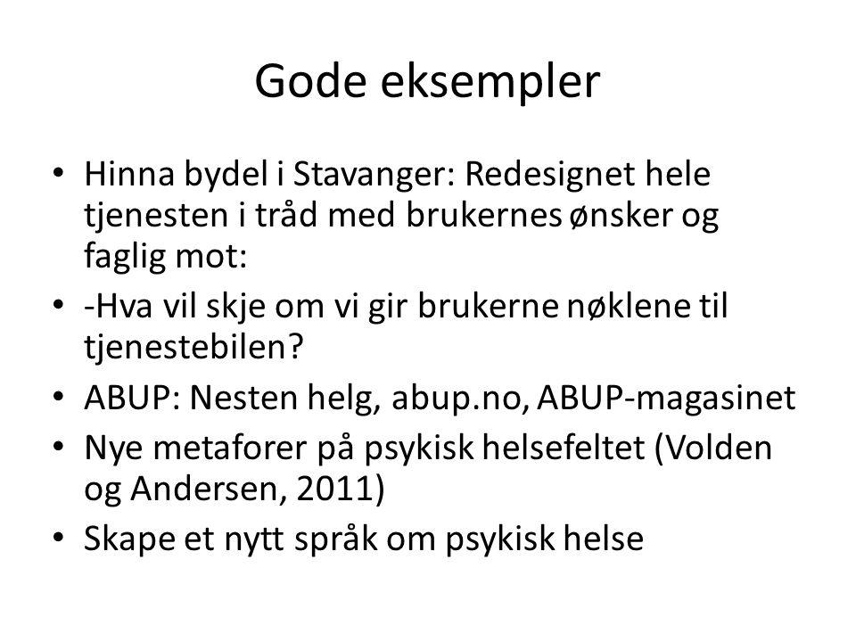 Gode eksempler Hinna bydel i Stavanger: Redesignet hele tjenesten i tråd med brukernes ønsker og faglig mot: -Hva vil skje om vi gir brukerne nøklene