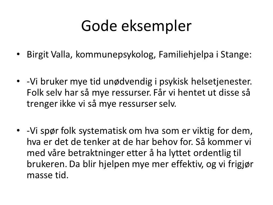 Gode eksempler Birgit Valla, kommunepsykolog, Familiehjelpa i Stange: -Vi bruker mye tid unødvendig i psykisk helsetjenester. Folk selv har så mye res
