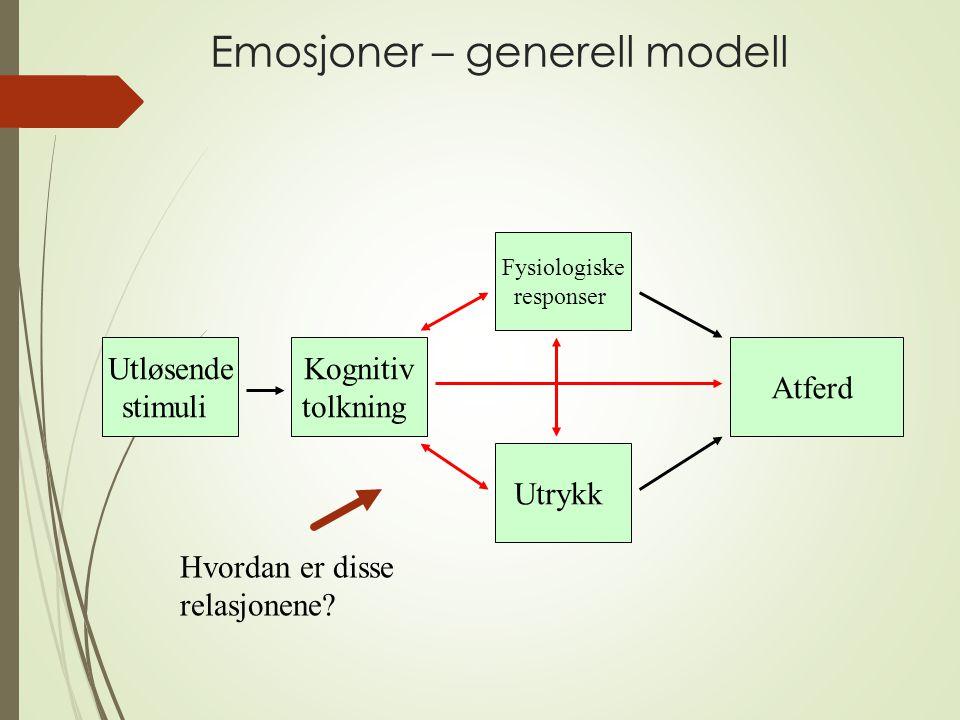 Emosjoner – generell modell Utløsende stimuli Kognitiv tolkning Fysiologiske responser Utrykk Atferd Hvordan er disse relasjonene?