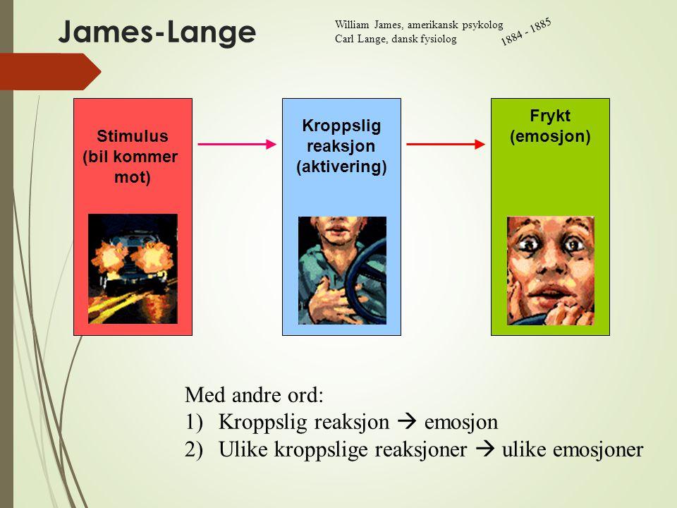 James-Lange Frykt (emosjon) Kroppslig reaksjon (aktivering) Stimulus (bil kommer mot) Med andre ord: 1)Kroppslig reaksjon  emosjon 2)Ulike kroppslige