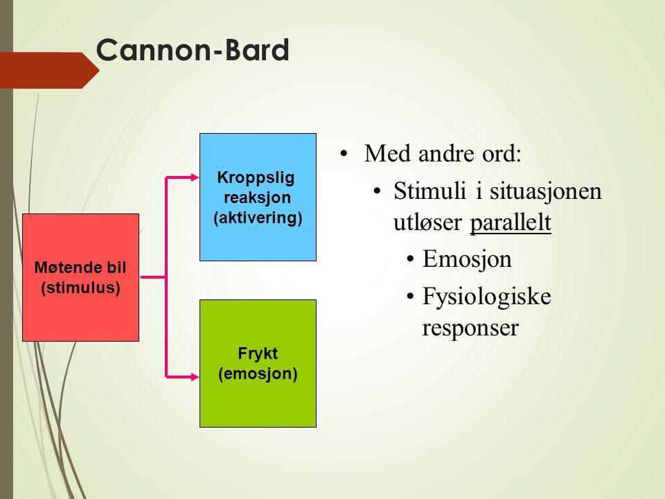 Cannon-Bard Møtende bil (stimulus) Kroppslig reaksjon (aktivering) Frykt (emosjon) Med andre ord: Stimuli i situasjonen utløser parallelt Emosjon Fysi