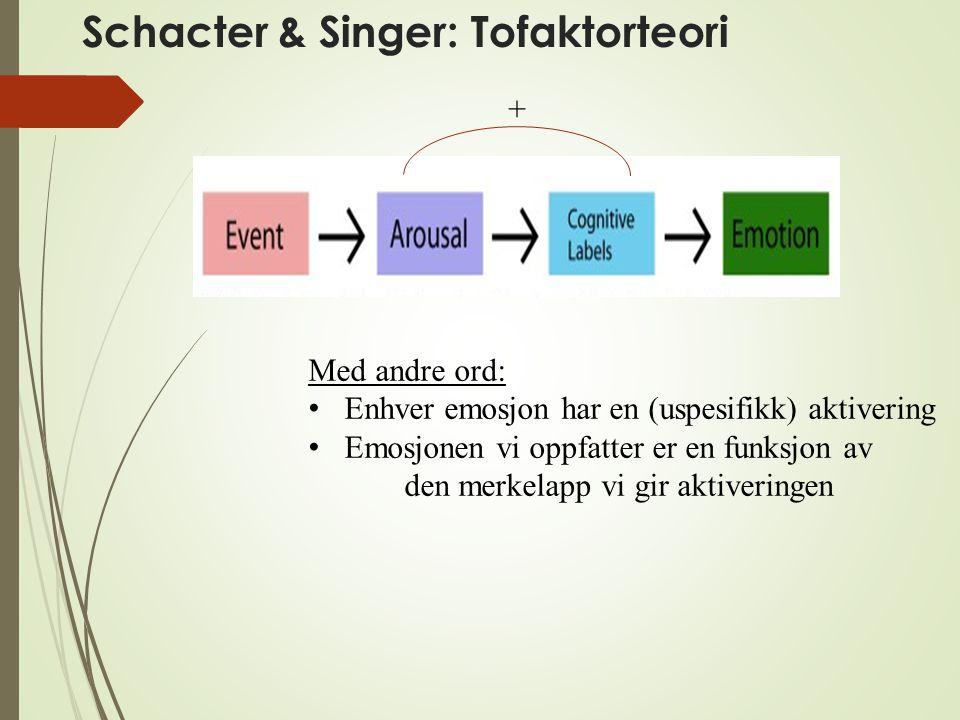 Schacter & Singer: Tofaktorteori Med andre ord: Enhver emosjon har en (uspesifikk) aktivering Emosjonen vi oppfatter er en funksjon av den merkelapp v