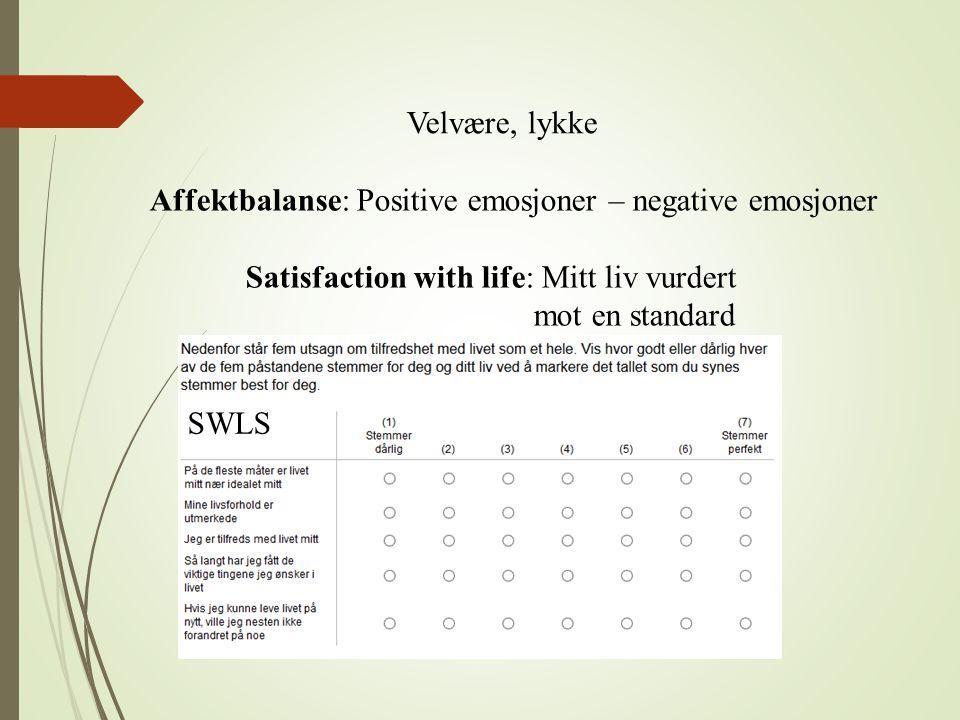 Velvære, lykke Affektbalanse: Positive emosjoner – negative emosjoner Satisfaction with life: Mitt liv vurdert mot en standard SWLS