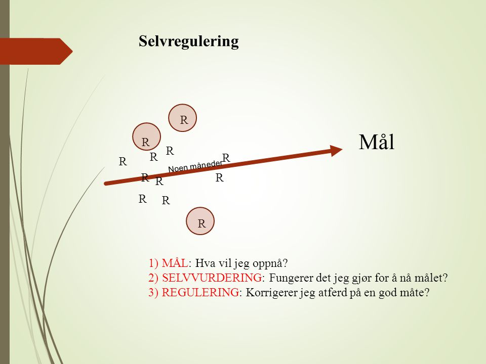 Selvregulering Mål Noen måneder R R R R R R 1)MÅL: Hva vil jeg oppnå? 2)SELVVURDERING: Fungerer det jeg gjør for å nå målet? 3)REGULERING: Korrigerer