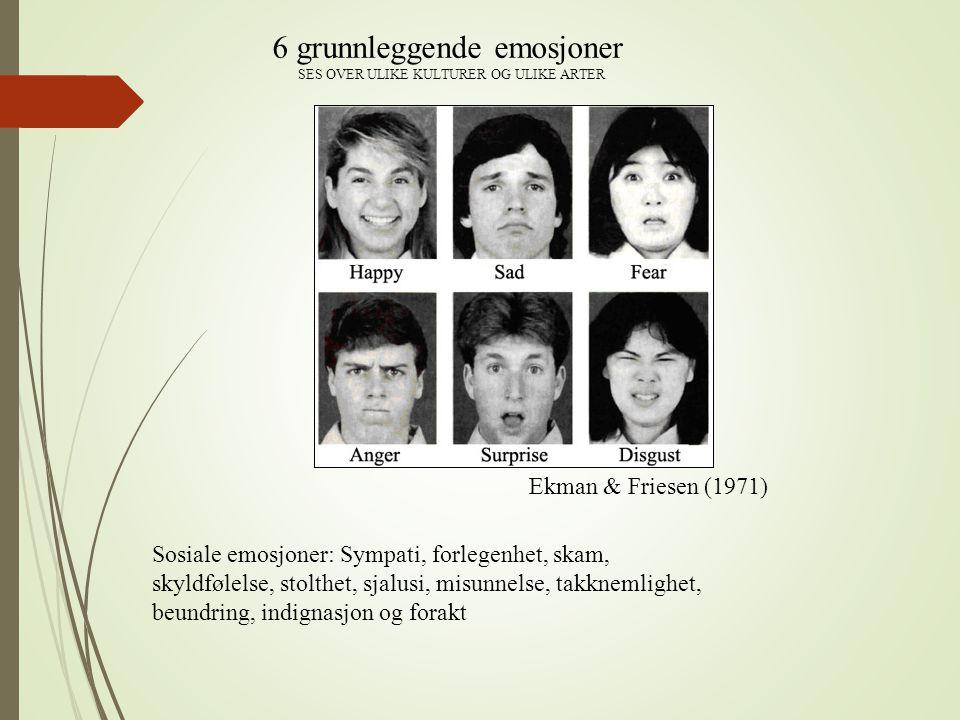 Ekman & Friesen (1971) 6 grunnleggende emosjoner SES OVER ULIKE KULTURER OG ULIKE ARTER Sosiale emosjoner: Sympati, forlegenhet, skam, skyldfølelse, s