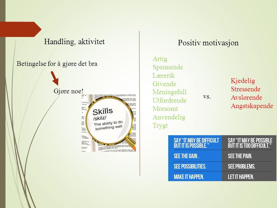 Handling, aktivitet Positiv motivasjon Betingelse for å gjøre det bra Gjøre noe! Artig Spennende Lærerik Givende Meningsfull Utfordrende Morsomt Anven