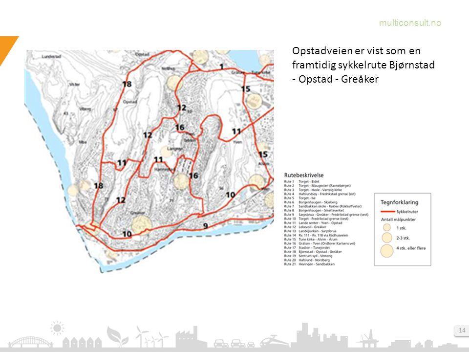 multiconsult.no 14 Opstadveien er vist som en framtidig sykkelrute Bjørnstad - Opstad - Greåker