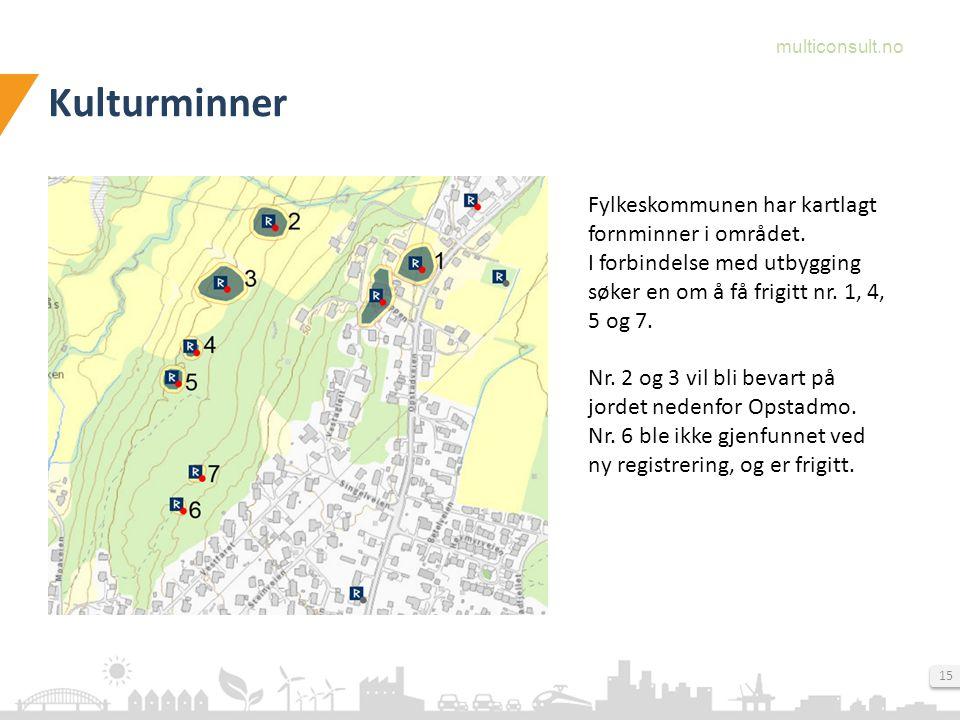 multiconsult.no 15 Kulturminner Fylkeskommunen har kartlagt fornminner i området.