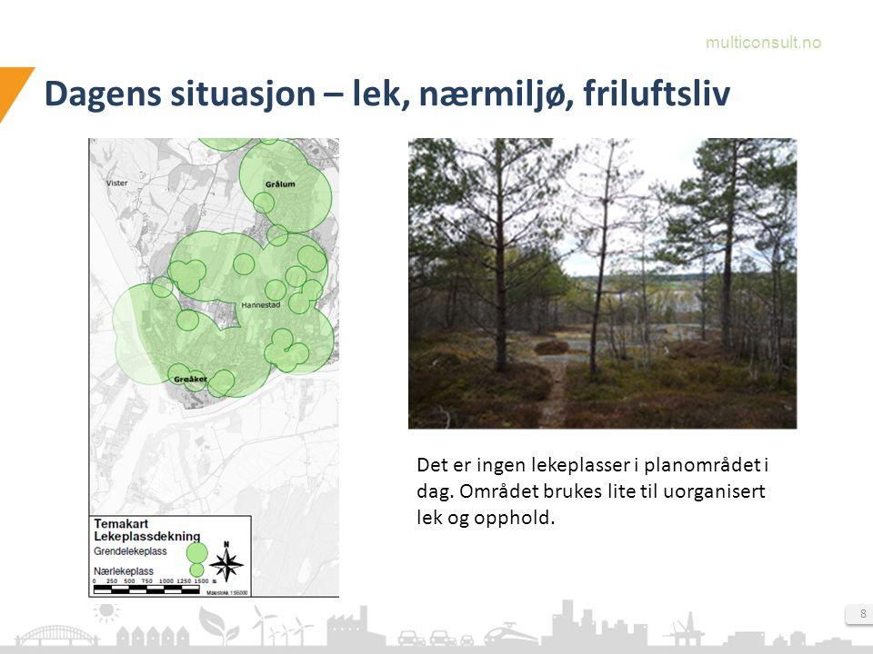multiconsult.no 8 Dagens situasjon – lek, nærmiljø, friluftsliv Det er ingen lekeplasser i planområdet i dag.