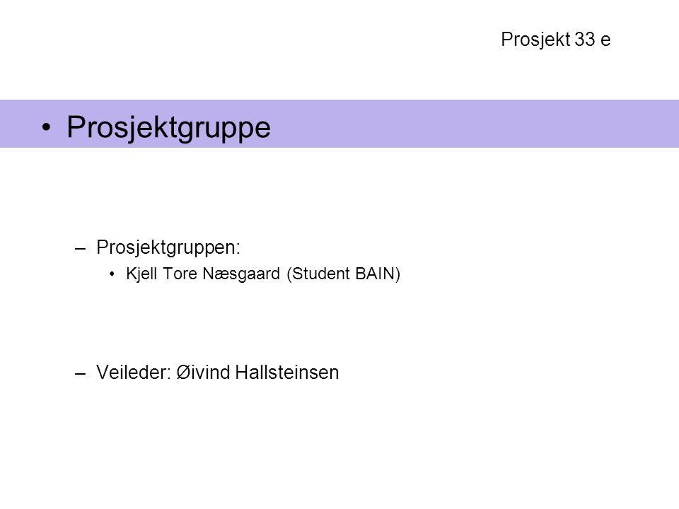 Prosjekt 33 e Prosjektgruppe –Prosjektgruppen: Kjell Tore Næsgaard (Student BAIN) –Veileder: Øivind Hallsteinsen